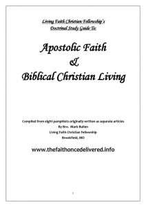 thumbnail of Living Faith Christian Fellowship's Doctrinal Study Guide To Apostolic Faith & Biblical Christian Living