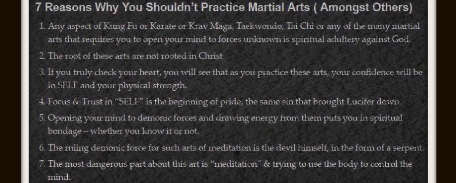 Martial Arts Demonic satanic Christian should can